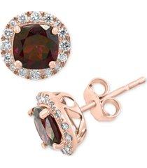 effy rhodolite garnet (2-1/3 ct. t.w.) & diamond (1/3 ct. t.w.) stud earrings in 14k rose gold