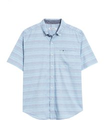 men's tommy bahama reef point short sleeve stripe print button-up shirt, size xx-large - blue
