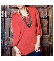 alpaca blend hoodie sweater, 'red trujillo lady' (peru)