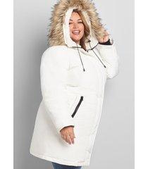 lane bryant women's faux-fur trim hooded parka coat 18/20 white
