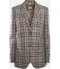 burberry wool jacket with all-over vintage check pattern
