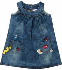 monnalisa denim dress with embroidery
