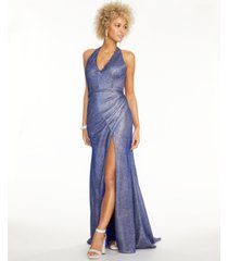 blondie nites juniors' metallic halter gown