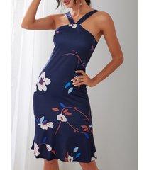 cola de pez estampada floral al azar azul marino vestido