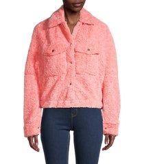 free people women's teddy swing jacket - melon - size s