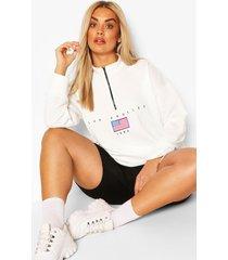 plus zachte oversized sweater met rits, wit