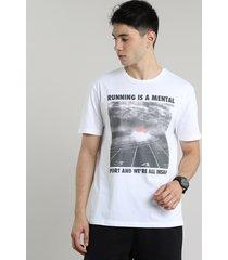 "camiseta masculina esportiva ace ""running is a mental"" manga curta gola careca branca"