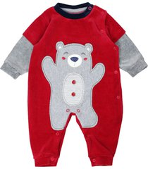 macacão longo feito em plush bordado urso vermelho curioso vermelho