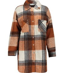 geisha 08531-70 740 jacket blouse check cognac/off-white/black