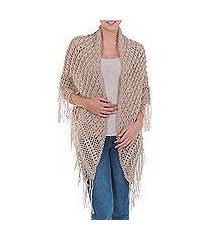100% alpaca shawl, 'andean beige' (peru)