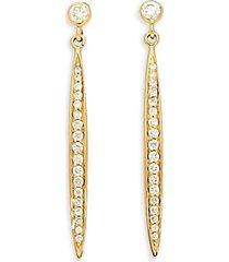 14k yellow gold & diamond stiletto drop earrings
