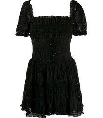 self-portrait square neck sequin-embellished dress - black