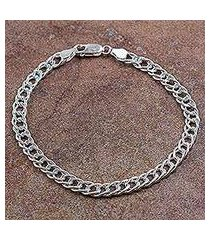 men's sterling silver chain bracelet, 'ancient chain mail' (peru)
