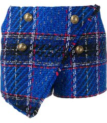 balmain tartan-check tweed shorts - blue