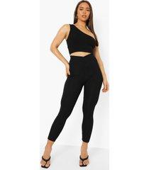 geribbelde wikkel leggings met grte taille band, black