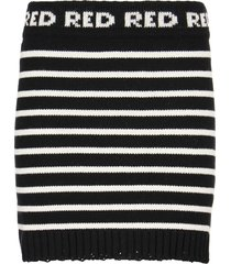 red valentino striped wool blend knitted mini skirt