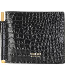 tom ford grained leather money clip wallet