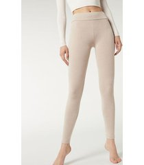 calzedonia ribbed leggings with cashmere woman nude size l