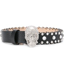philipp plein crystal-embellished skull belt - black