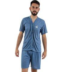 pijama de botã£o linha noite azul acinzentado - azul - masculino - poliã©ster - dafiti