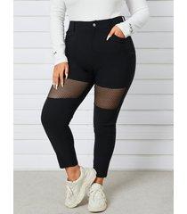 yoins plus talla patchwork pocket diseño rejilla pantalones