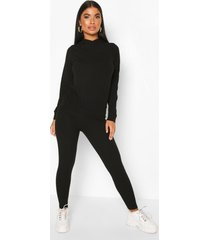 petite gebreide zachte geribbelde hoodie en leggings set, zwart