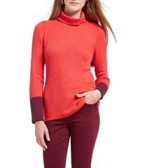 women's nic+zoe balance contrast cuff turtleneck cotton blend sweater