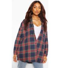 maternity brushed oversized flannel shirt, navy