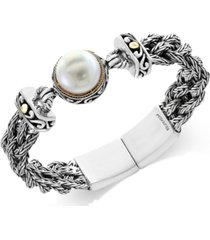 pearl lace by effy cultured freshwater pearl (14mm) braided chain bracelet in sterling silver and 18k gold