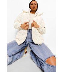 oversized gewatteerde corduroy jas, cream