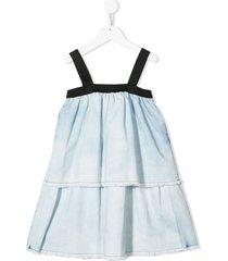 andorine sleeveless frayed denim dress - blue