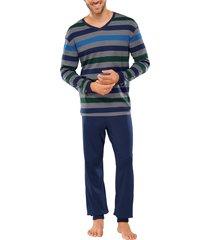 schiesser pyjama v-hals grijs gestreept