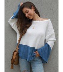 bloqueo de color azul ancho redondo cuello mangas largas jumper