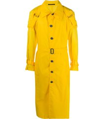 yohji yamamoto buckle detail buttoned trench coat - yellow