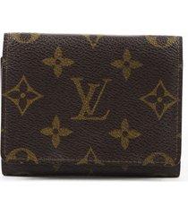 louis vuitton vintage enveloppe carte de visite card case brown monogram wallet brown/monogram sz: