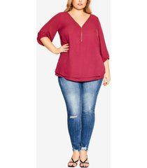 city chic trendy plus size fling elbow sleeve top