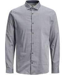 overhemd lange mouw jack & jones 12180159 jprblaoccasion l/s light grey mela/slim fit