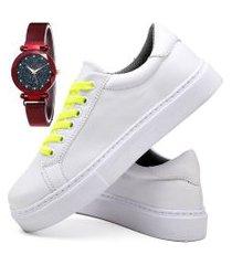 tênis sapatênis casual fashion com relógio chili feminino dubuy 310el branco