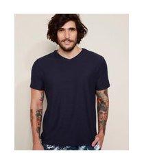 camiseta masculina básica flamê manga curta gola v azul marinho