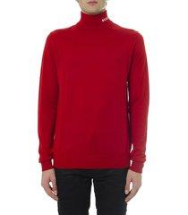 msgm red wool high neck logo sweater