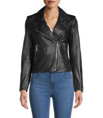 lth jkt women's leather moto jacket - black - size xs