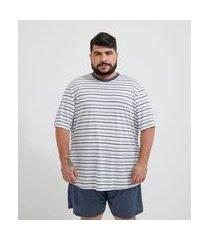 pijama curto listras em poliviscose - plus size | viko | branco | eg iii