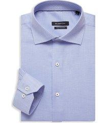 bugatchi men's regular-fit bird's eye dress shirt - classic blue - size 15.5