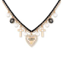 """guess gold-tone crystal & imitation pearl multi-charm velvet wrapped statement necklace, 16"""" + 3"""" extender"""