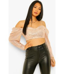 petite korset stijl crop top met pailletten, rose gold