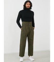 hombres vendimia moda cintura alta suelta casual gurkha pantalones