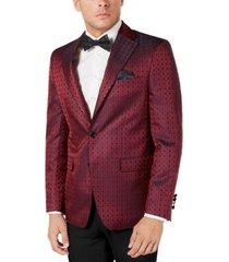 tallia men's slim-fit burgundy medallion dinner jacket