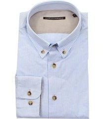 eagle & brown blauw gestreept oxford overhemd