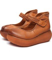 socofy retro scarpe in pelle morbida con zeppa con velcro a punta rotonda