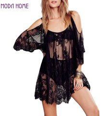 women beach dress sexy strap sheer floral lace embroidered crochet summer dresse